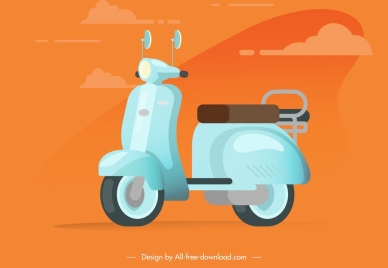 scooter icon colored classical sketch
