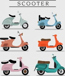 scooter icons collection colored retro design