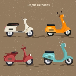 scooter icons collection multicolored classical design