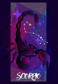 scorpio zodiac symbol 3d violet design