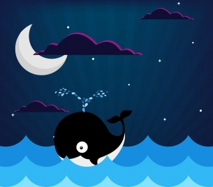 sea background crescent moon whale icons colored drawing