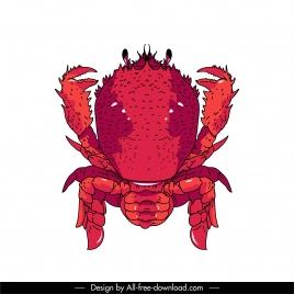 sea crab icon red handdrawn sketch