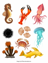 sea creatures icons colorful modern sketch