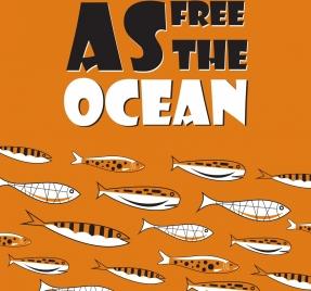 sea environment banner fish icons classical decor
