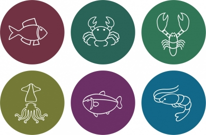 sea food icons outline various white flat isolation