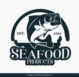 sea food logotype classic design dynamic fish sketch