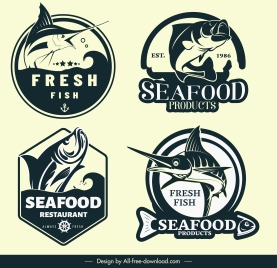 sea food logotypes dynamic handdrawn fish sketch
