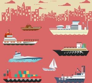 sea logistics design element various ship icons