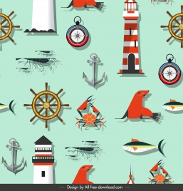 sea pattern template flat colorful emblems sketch