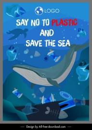 sea protection banner rubbish ocean species sketch