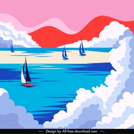 sea scene painting colorful classical boats clouds decor