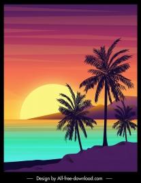 sea scene painting dark colorful design