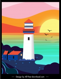 sea scene painting lighthouse sunset sketch colorful flat