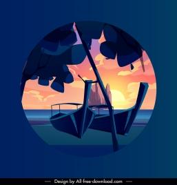 sea side scenery background colorful classical stillness design
