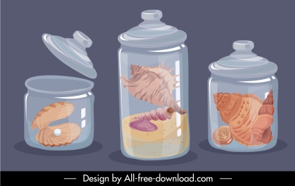 sea species display icons jars sketch colored classic