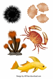 sea species icons colorful modern design