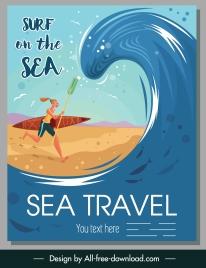 sea surfing banner surfer huge wave sketch