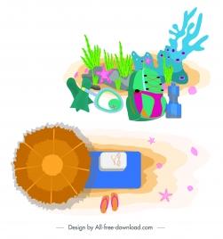 sea travel design elements colorful coral tools umbrella