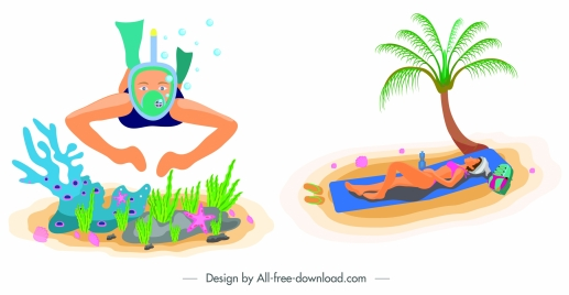 sea travel icons snorkeling sunbathing woman sketch