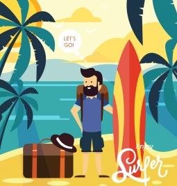 sea trip advertising man surfboard luggage sea icons