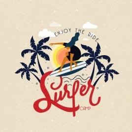 sea trip advertising surfer coconut calligraphic decor