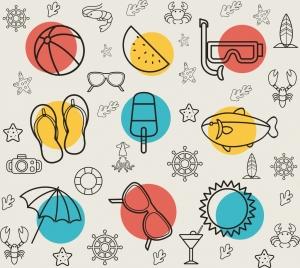 sea vacation design elements various flat symbol decor