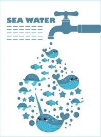sea water background faucet marine animals icons