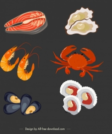 seafood background fish oyster shrimp crab shells icons