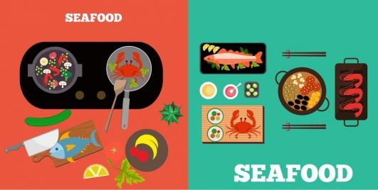 seafood background sets multicolored flat design