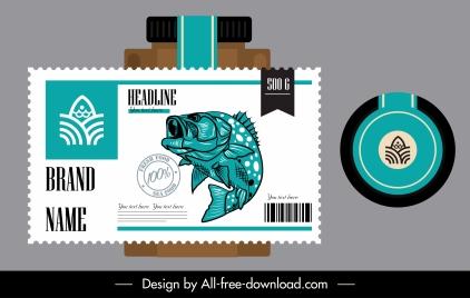 seafood label template flat design classic handdrawn decor