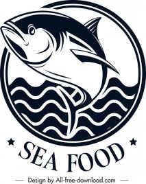seafood logo fish sea icons black white classical
