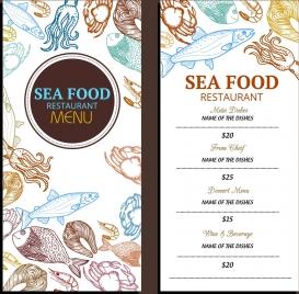 seafood menu template various marine species icons decor