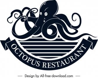 seafood restaurant logo octopus icon black white sketch