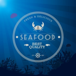 seafood stamp template crab fishes icons round design
