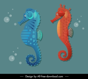 seahorse icons colored flat sketch