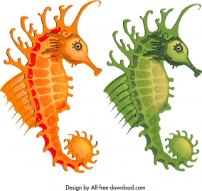 seahorse icons mockup design orange green sketch