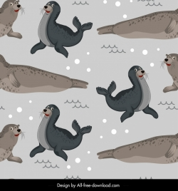 seals species pattern cartoon sketch repeating design