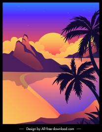 seaside painting sunset sketch colorful dark design