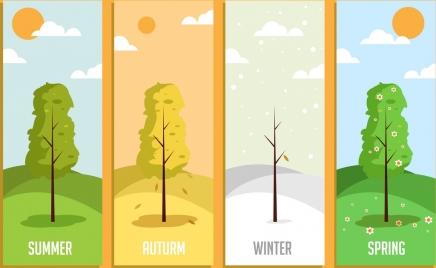 season background templates tree weather icons decor