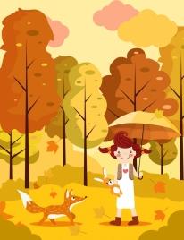 season background young girl fox icons orange decor