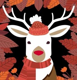 seasonal background stylized reindeer icon red leaves decor