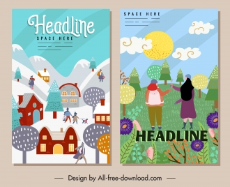 seasonal festive banners colorful cute decor cartoon sketch