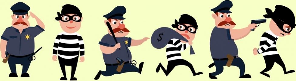 security design elements policeman thief icons cartoon design