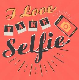 selfie banner camera icon texts decoration