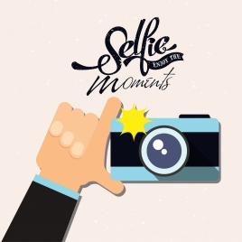 selfie banner hand camera icons calligraphy decor