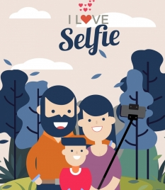 selfie banner happy family icon colored cartoon