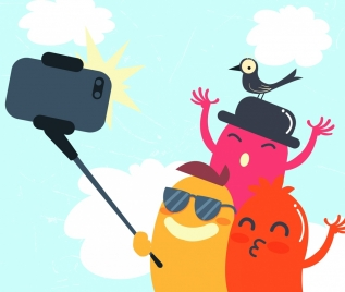 selfie enjoyment drawing stylized cartoon characters icons