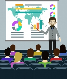 seminar background lecturer audience icons colored cartoon design