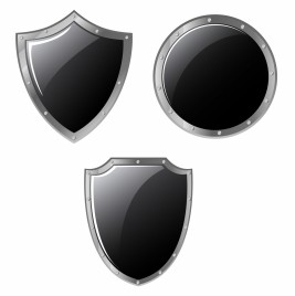 Set of different steel shields isolated on white