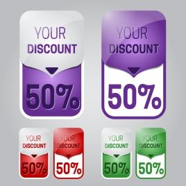 sets of different color discount labels